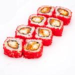 Окинава|Цена: 230 руб. 8 шт. Состав: лосось, креветка в кляре, тобико, спайси соус.