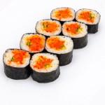 Острый с лососем: Цена: 195руб. 8шт. Состав:лосось, спайси соус, огурец