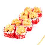 Саппоро|Цена:260руб. 8шт. Состав:угорь, лосось, сыр, спайс соус, огурец, тобико